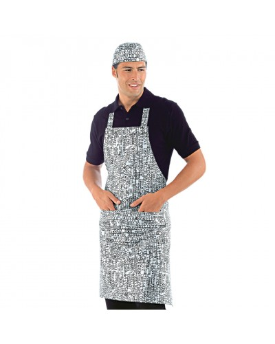 Grembiule Cuoco Pettorina New York Bianco Regolabile Isacco