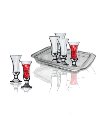 Tray Set and 6 Garda Liquor Glasses
