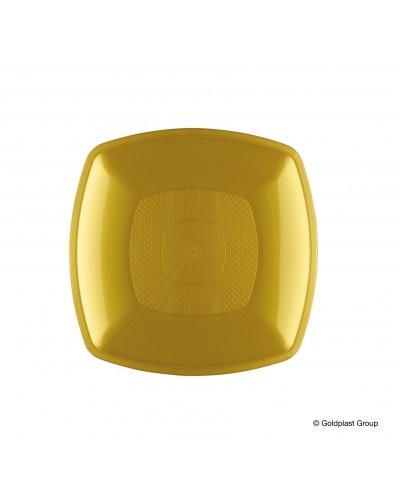 Piatti Dessert Square Oro PP 12 pz Gold Plast