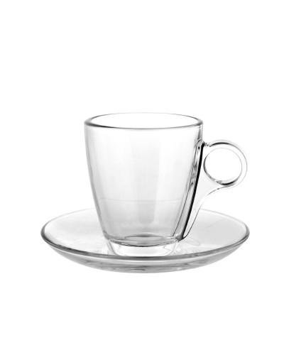 Set 6 Tazze Caffè Cherie con Piattino da 7,3 cl in Vetro Pasabache