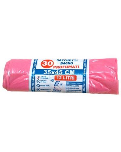 Sacchi Spazzatura Rosa Profumati per Bagno 35x45 cm 30 pz Verolene
