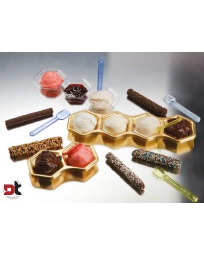 50 PZ MINI VASSOIO 4 SCOMPARTI ORO monoporzione gelato party feste aperitivi