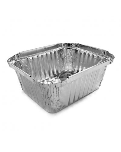 Vaschette Alluminio per Alimenti 2 Porzioni L Alta 15x12,5x5 cm 100 pz