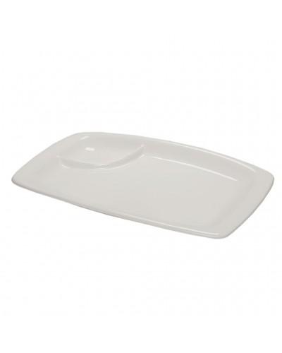 Piatto Portata Bianco in Porcellana con Scomparto Salse 29,5x18,5 cm