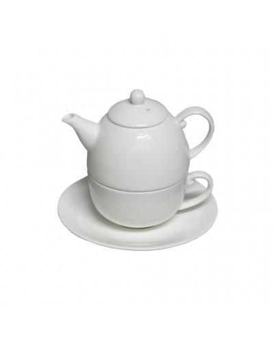 """Teiera Con Tazza Bianca e Piattino 9 cm in Porcellana """" Tea For One"""""""