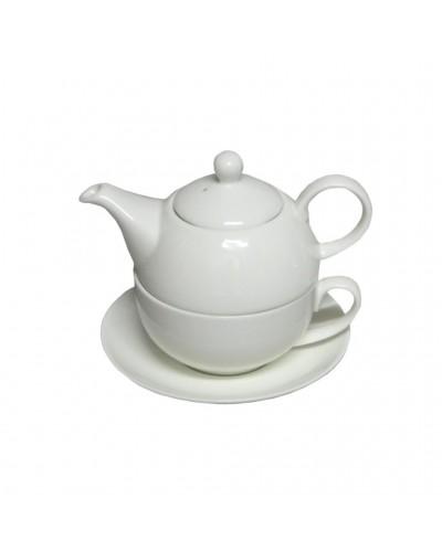"""Teiera Con Tazza Bianca e Piattino 11 cm in Porcellana """" Tea For One"""""""