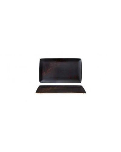 Vassoio Rettangolare Amazon Nero e Rosso 34x19,7 cm in Porcellana