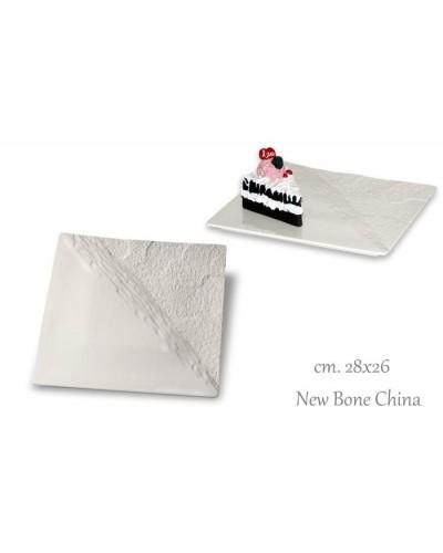 Vassoio Effetto Pietra Quadrato Bianco Porcellana 28 cm New Bone China