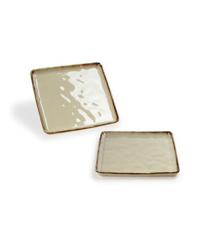 Vassoio Emozioni Tortora Quadrato in Porcellana 21,5x21,5 cm