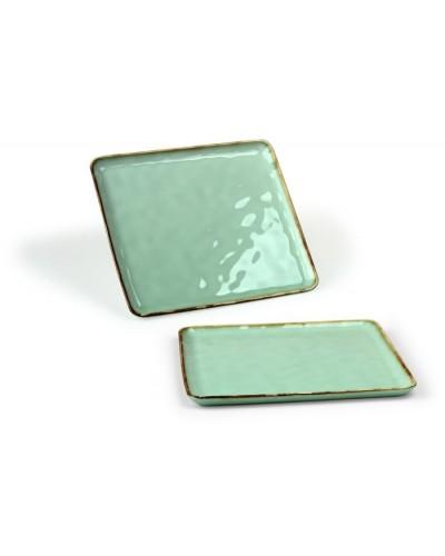 Vassoio Emozioni Verde Quadrato in Porcellana 25,5x25,5 cm