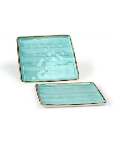Vassoio Emozioni Azzurro Quadrato in Porcellana 30x30 cm