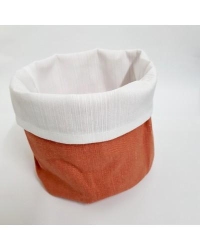 Cestino Portapane Aurora Arancione/Bianco in Cotone