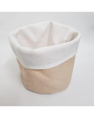 Cestino Portapane Aurora Beige/Bianco in Cotone