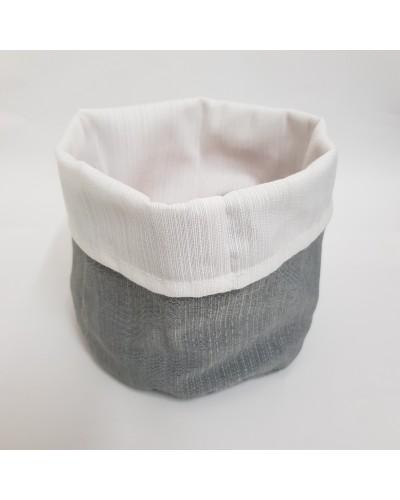 Cestino Portapane Aurora Grigio/Bianco in Cotone Ø 14 cm