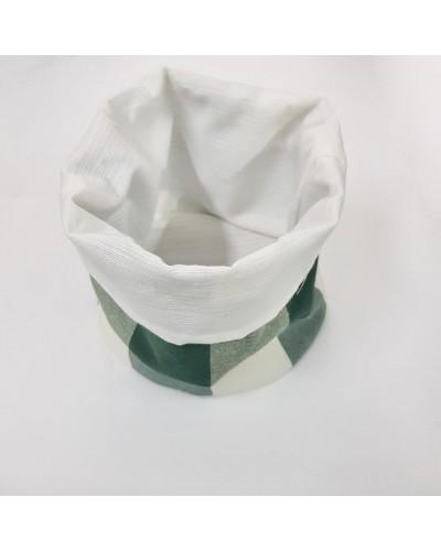 Cestino Portapane Quadri Verde/Bianco in Cotone Ø 14 cm