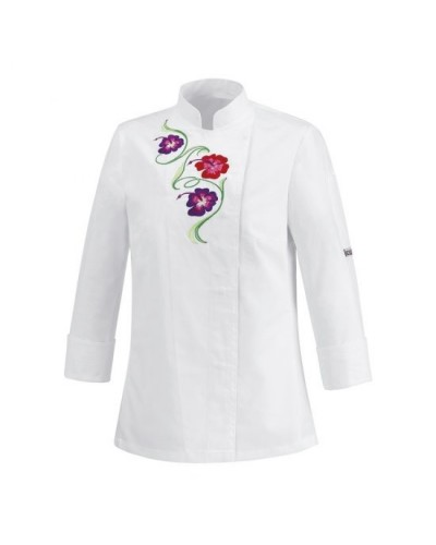 Giacca Donna Flowers Bianca Slim Fit EgoChef