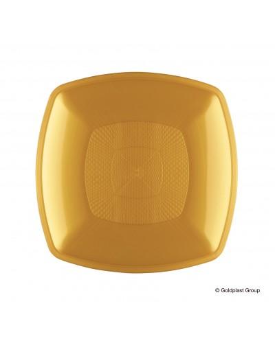 Piatti Piani Square Oro 12 pz in Polipropilene Gold Plast