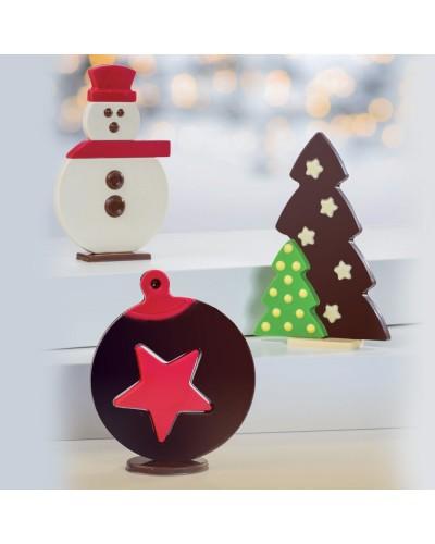 Set 3 Stampi Puzzle Christmas per Cioccolato Martellato