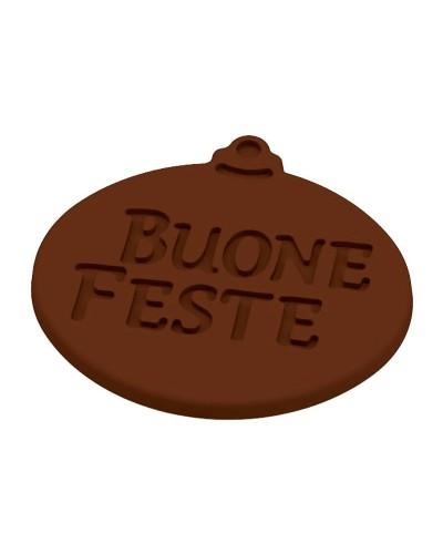 Placca Etichette Buone Feste in Cioccolato Termoformata Martellato