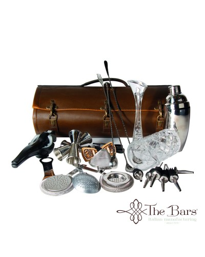 Borsa Barman Roll Ecopelle Marrone Completa The Bars
