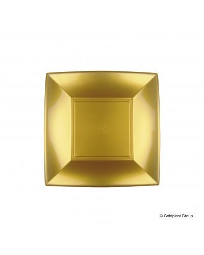 Piatti Dessert Nice Oro Quadrati 18x18 cm 12 pz Gold Plast