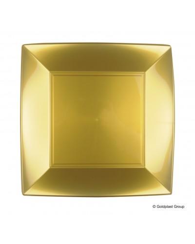 Piatti Piani Nice Oro Quadrati 23x23 cm 12 pz Gold Plast