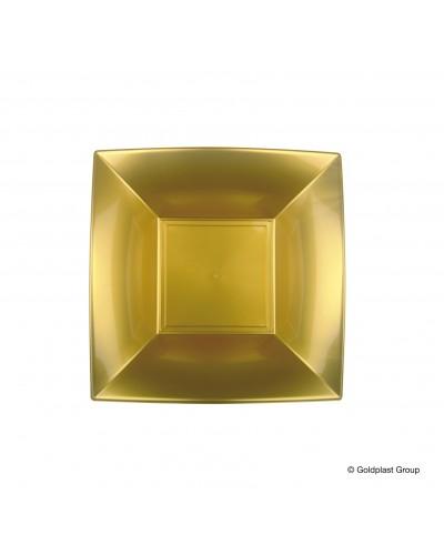 Piatti Fondi Nice Oro Quadrati 18x18 cm 12 pz Gold Plast