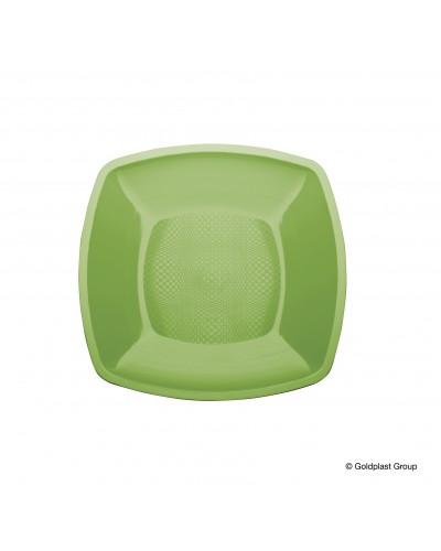 Piatti Piani Square Verde Acido Quadrati 23x23 cm 12 pz Gold Plast