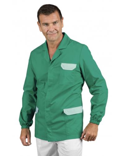 Casacca Uomo Carson Verde a Righe a Manica Lunga Isacco