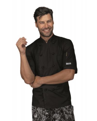 Giacca Cuoco Alabama Slim Extralight Nera a Manica Corta Isacco