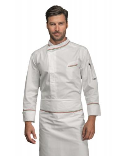 Giacca Cuoco Bilbao Bianca e Tricolore a Manica Lunga Isacco
