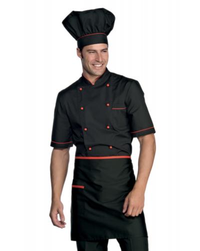 Giacca Cuoco Alicante Nera e Rossa a Manica Corta Isacco