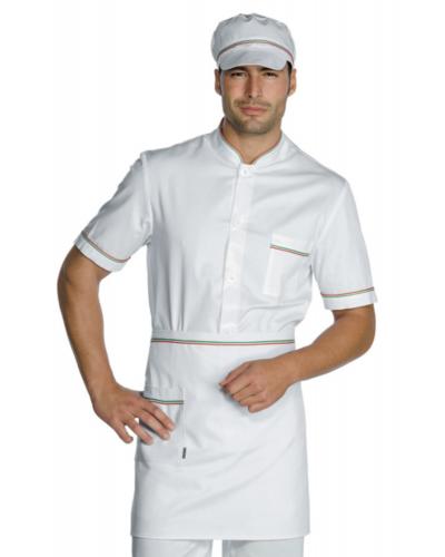 Giacca Cuoco Coreana Lavoro Bianco e Tricolore a Manica Corta Isacco