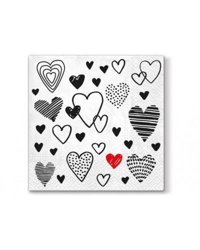 Tovaglioli Love Bianchi con Cuori in Carta 33x33 3 veli 20 pz Eva