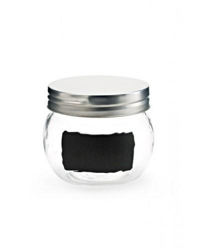 Set 6 Vasetti Vetro Con Adesivo Nero 500 ml