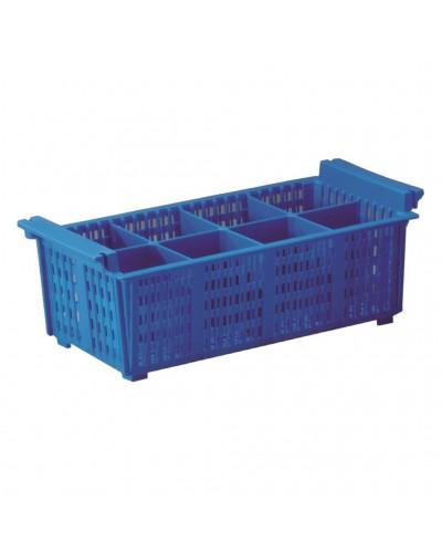 Cestello Porta Posate per Lavastoviglie a 8 Scomparti Blu 42,6x20,6 cm