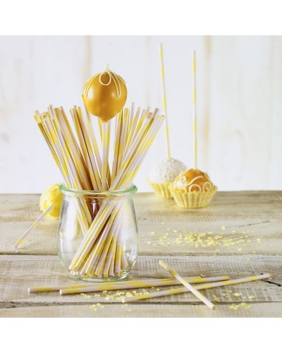 Bastoncini Cake Pops Gialli 15 cm 48 pz Birkmann