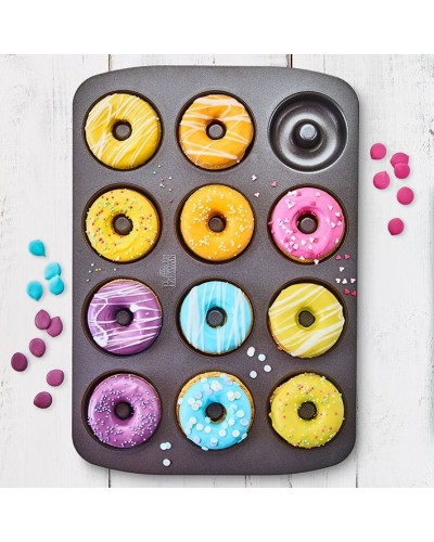 Teglia Antiaderente 12 Mini Donut 7 cm - 37x26x2,5 cm Birkmann