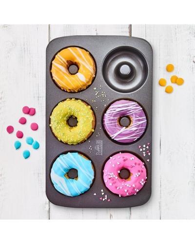 Teglia 6 Mini Donut 9 cm Antiaderente - 34,5x21,5x2,5 cm Birkmann