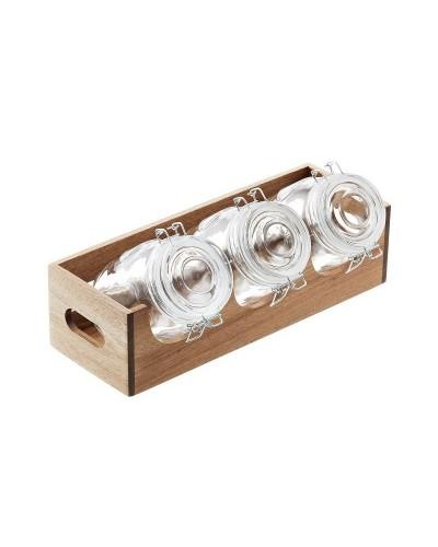 Dispenser Portacereali Acacia Con 3 Barattoli Jars Vetro da 1 lt Leone