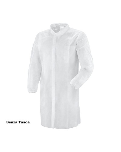 Camice Tnt Bianco Tg. L 40gr C/velcro S/tasca