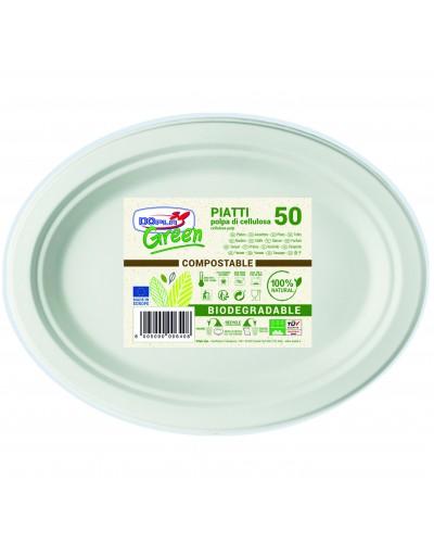 Piatto Polpa Di Cellulosa Ovale 26x19 Dop/siam P50