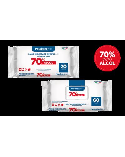 Salvietta Igienizzante Superfici 70% Alcool 60 pz Eudorex