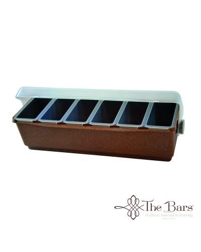 Porta Condimenti Wood 6 Vasche Refrigeranti Con Coperchio The Bars