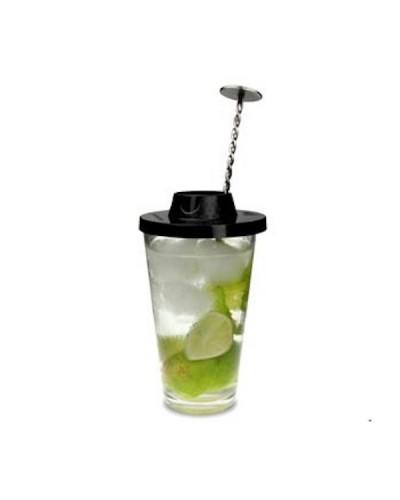 Coperchio per Miscelare Bicchieri Cocktail Mojito Cup Cover Nero