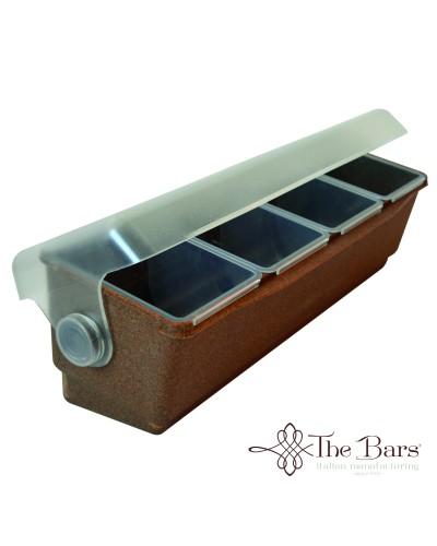 Porta Condimenti 4 Vasche Refrigeranti Wood Con Coperchio The Bars