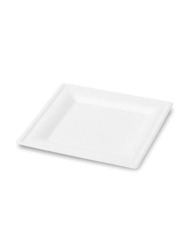 Piatto Piano Quadrato Polpa di Cellulosa 20x20 cm 50 pz