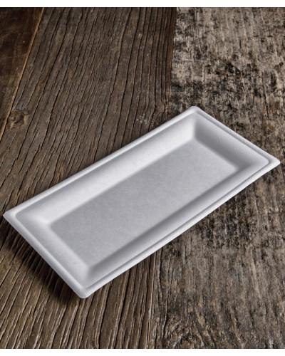 Piatto Rettangolare Polpa Di Cellulosa 26x13 cm 50 pz