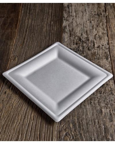 Piatto Fondo Quadrato Polpa di Cellulosa 26x26 cm 50 pz