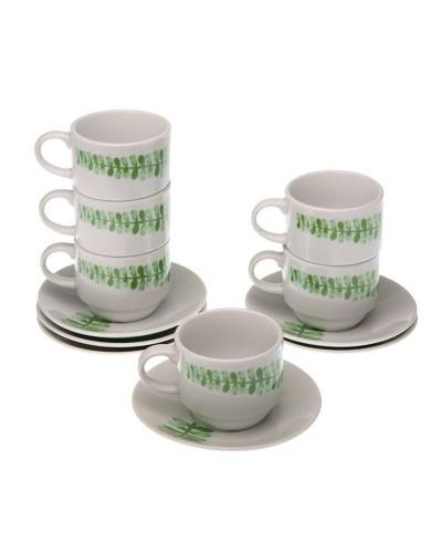 Set 6 Tazzine caffè con piattini. Disegno foglie e Supporto Verticale
